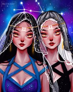 Gemini ♊️ what do you think of this one? Feel free to tag a Gemini 🙂 I had so much fun drawing this one ☺️and would really love to know your feedbacks ! Gemini Art, Zodiac Signs Gemini, Anime Zodiac, Zodiac Art, Girl Cartoon, Cartoon Art, Drawings With Meaning, Zodiac Characters, Cool Drawings