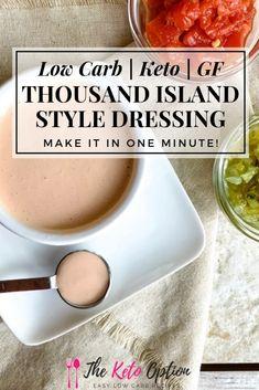 Thousand Island Dressing Keto Thousand Island Style Dressing Keto Sauces, Low Carb Sauces, Low Carb Recipes, Diabetic Recipes, Keto Salad Dressing, Dressing Recipe, Thousand Island Dressing, Comida Keto, Thousand Islands