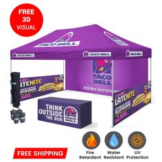 Check out our range of custom printed tents that are great to set up at sporting events, trade shows or even at your storefront.For more information call on 1-888-414-7340. #customprintedtent #canopytents #customtent #customcanopy