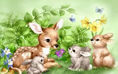 fawn & bunnies ~ Among Friends by Penny Parker