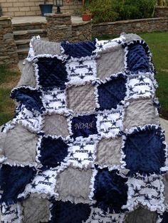 Rag quilt blanket for baby girl or boy in by calchicbyjacquiek, $125.00