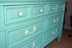 I have an old dresser I want to paint turquoise and I love the this one with the white drawer pulls