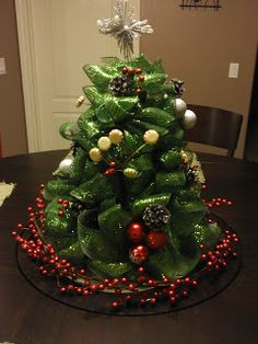 This Mesh Ribbon Christmas Tree Centerpiece Is Adorable ! It Would Be The  Perfect Item For The Middle Of The Table During Christmas Eve Dinner. Part 83