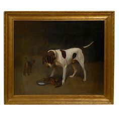Large Dog Painting  Belgian  19 th.c.  Large oil painting of dog and two cats, charming.In a gilt frame.