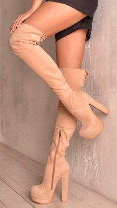 6ea6d6d44d8 Cream colored thigh high boots Thigh High Heels