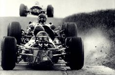 Kicking up some dust, 60's F1 style.
