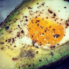 Avocado Egg Breakfast w/o the cheese and bacon. Add salt pepper and paprika instead