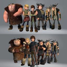 The gang younger and older <---- take a look at the change in heights! Hiccup is now the tallest!  yeah!