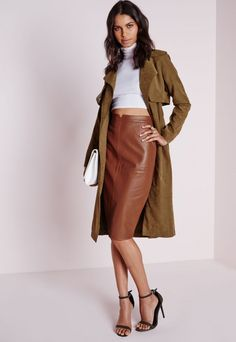 17 Best images about Misguided Faux | Leather midi skirt, Midi ...