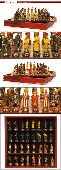 Theme Chinese Chess Set with Antique CustomQing and Ming Dynesty Chess Pieces and Wooden Chess Board