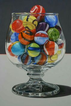 daryl gortner - Contemporar American hyper-realism - oil on canvas Hyper Realistic Paintings, Marble Art, Painting Gallery, Photorealism, Glass Marbles, Painting Inspiration, Colored Pencils, Bunt, Still Life