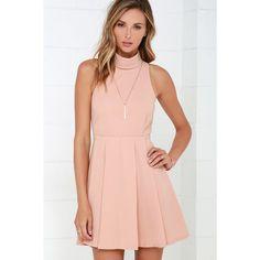 Back For More Blush Skater Dress ($54) ❤ liked on Polyvore featuring dresses, pink, pleated skater skirt, lulu dresses, pink circle skirt, skater skirt and zipper dress