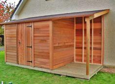 Abri de jardin en bois CASTEL 2.00Mx3.00M + bûcher - Cerisier : abris de jardin en bois