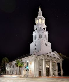 Famous steeple of St. First church in Charleston, South Carolina. First Anglican church south of Virginia. Church Architecture, Beautiful Architecture, Charleston South Carolina, Charleston Sc, St Micheal, Fort Sumter, My Father's House, Michael Church, Church Pictures