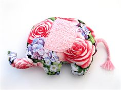 ELEPHANT - Roses in Bloom - Handmade Softie with plaited wool tail | Cath's Cottage | madeit.com.au