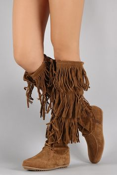 Lace Up Suede Fringe Knee High Boots 4f724528d580