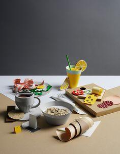 Breakfast on Behance - paper art/paper sculptures