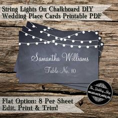 String Lights On Chalkboard DIY Wedding Place by WeddingShopTM, $10.00