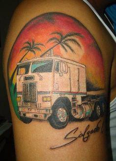 Dad on pinterest truck tattoo semi trucks and fishing for Truck tattoos designs
