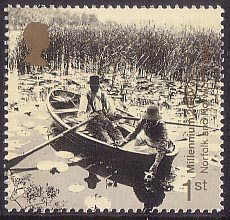 British Stamp 2000 - 1st, Gathering Water Lilies on Broads (Norfolk and Norwich Project) from Millennium Projects (9th Series). 'Mind and Matter' (2000)