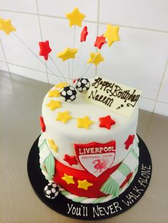 Customized chocolate mud cake for a Liverpool soccer team's fan.