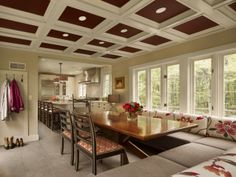 Coffered ceiling with a punch. #design #msd #poconomanor #kitchen #dining #casual #banquette