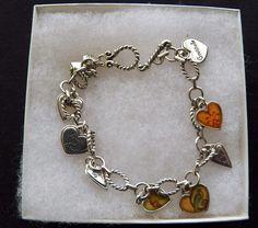 $3.00 - Silvertone Heart Charm Bracelet (1517-27 BRAC) fashion, jewelry #Unknown #Charm
