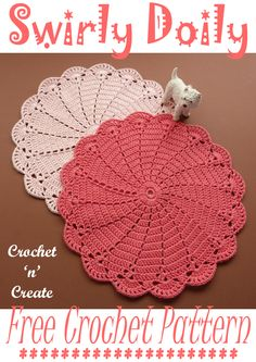 Beautiful swirly doily, a FREE crochet pattern to use on your dining table and around your home, find it written in UK and USA format on crochetncreate Crochet Placemat Patterns, Free Crochet Doily Patterns, Crochet Dishcloths, Crochet Designs, Knitting Patterns, Crochet Doily Diagram, Crochet Coaster, Free Pattern, Crochet Dollies