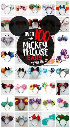 over 100 totally unique and cute Mickey Mouse ears idea to diy and buy! Perfect for your trip to Disneyland or Disneyland! : over 100 totally unique and cute Mickey Mouse ears idea to diy and buy! Perfect for your trip to Disneyland or Disneyland! Diy Disney Ears, Disney Mickey Ears, Minnie Mouse Ears Disneyland, Mickey Ears Diy, Micky Ears, Disney Bows, Disney Disney, Disney Family, Disney Princess
