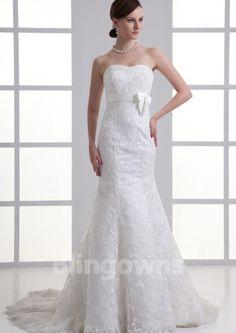 Zipper Bow Sweetheart Sweep White Mermaid Tulle Appliques Sleeveless Wedding Dresses