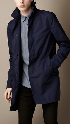 I'll be mannishly working this for Spring Burberry Lightweight Car Coat Stylish Jackets, Stylish Men, Men Casual, Navy Trench Coat, Trench Coat Outfit, Trendy Mens Fashion, Look Man, Layering Outfits, J Crew Men