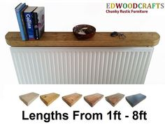 FLOATING SHELVES RECLAIMED CHUNKY RUSTIC RADIATOR SHELF CURVED