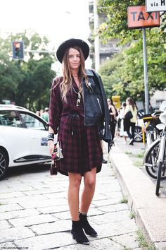New_York_Fashion_Week_Spring_Summer_15-NYFW-Street_Style-Carlotta_Oddi-Tartan_Dress-Hat-