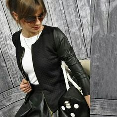 Women Collarless Pu Leather Quilted Cropped Coat Biker Jacket Blazer // davina claire