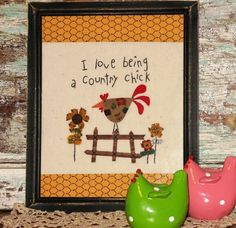 Primitive Country Farmhouse Chick Stitchery