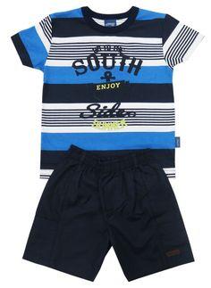 9ac8e3cc9 Lindo conjunto masculino de verão infantil com camiseta listrada e bermuda.