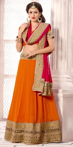 Sweet Orange Chiffon Lehenga Choli With Dupatta.
