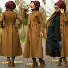 مدل پالتو بلند زنانه جدید مدل پالتو بلند ز T. - Tesettür Mont Modelleri 2020 - Tesettür Modelleri ve Modası 2019 ve 2020 Modern Hijab Fashion, Street Hijab Fashion, Abaya Fashion, Muslim Fashion, Fashion Outfits, Hijab Dress Party, Hijab Style Dress, Casual Hijab Outfit, Hijab Chic