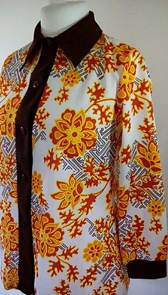 Vintage blouse shirt 70s long sleeve orange floral with brown