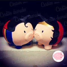 Superman y Mujer Maravilla - Piggy Bank - #cerditosdecorados