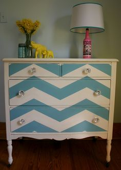 chevron dresser - painting my thrift store find this weekend the same way only with yellow instead of blue!