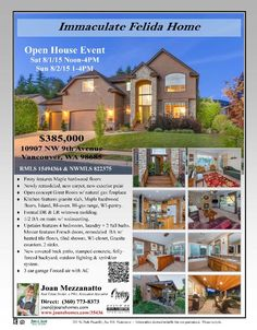 Real Estate for sale at $385,000! Four Bedroom, two and a half Bath, 2547 square foot immaculate two story newly remodeled Felida home on large .18 acre lot located at 10907 NW 9th Avenue, Vancouver, Washington 98685 in Clark County area 43 which is the North Felida area in Vancouver. The RMLS number is 15494364. The listing agent is Joan Mezzanatto with John L Scott. Her email address is joan@joanshomes.com.