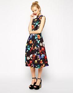 Enlarge ASOS Midi Dress in Poppy Print with Full Skirt