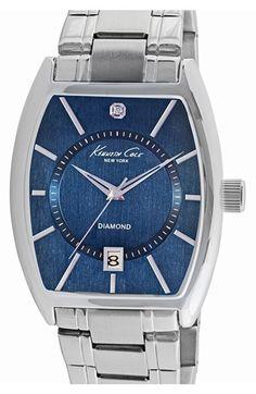 Men's Kenneth Cole New York Diamond Marker Barrel Watch
