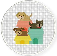 FREE Doggy Houses Cross Stitch Pattern