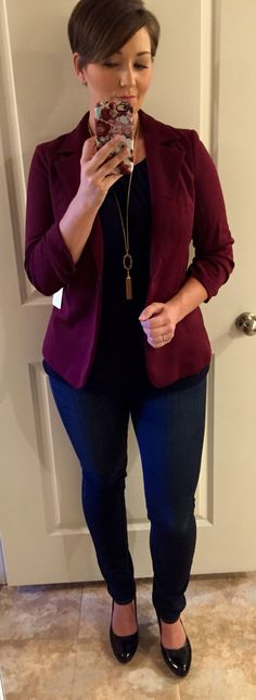 Stitch Fix No. 10. 41Hawthorn Benson blazer in burgundy. This would be a nice alternative to a cardigan. Or maybe in another color like a green? Just not black.