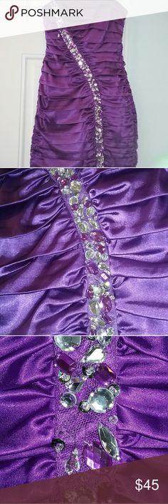 Purple Formal Dress For sale is a lovely purple formal dress. This is a form fitting sexy dress that you can wear to homecoming, prom, a night out, or for any formal event. It has a zipper on the back with a hook and clasp closure. Has some beads loose or missing but you can tell from the pictures that there aren't a lot that are like that. The color is a rich purple, that just looks so nice! Worn once and needs to go to a new home now. Feel free to ask questions or make an offer! Dresses…