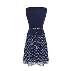 kvinnors+ärmlös+polka+dot+passform&+signalljus+chiffong+klänning+–+SEK+Kr.+112