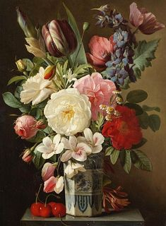 Augustin Alexandre Thierriat De Lyon (French artist, Roses and Tulips in a Delft Vase 1834 - Pictify - your social art network Art Floral, Still Life Flowers, Social Art, French Artists, Botanical Prints, Beautiful Paintings, Flower Art, Watercolor Art, Beautiful Flowers