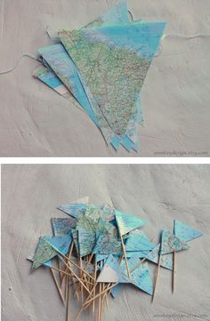 for cupcakes..Map Cake Topper Bunting Atlas Paper Pennant Banner